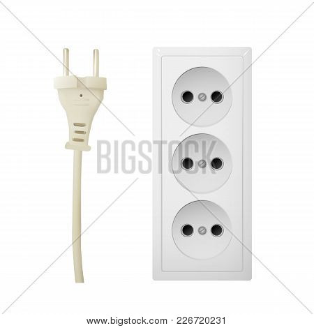 Electric Adapter With Three Connectors. Electrical Outlet. Vector Illustration.