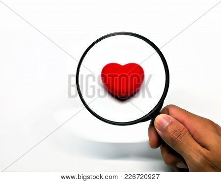 Red Heart Through A Magnifying Glass, Isoleted On White Background. Searching For Love Or Find Love.