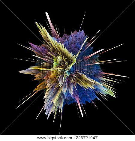 Abstract Colorful Explosion Isolated On Black Background. Hi-res Illustration For Your Brochure, Fly