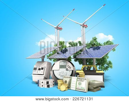 Concept Of Energy Saving Solar Panels And A Windmill Near The Meter Of Electricity 3d Render On Blue