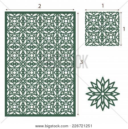Vector Laser Cut Panel, The Seamless Eastern Pattern For Decorative Panel. Image Suitable For Engrav