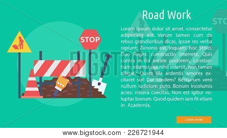 Road Work Conceptual Banner | Set Of Great Banner Design Illustration Concepts For Building, Archite