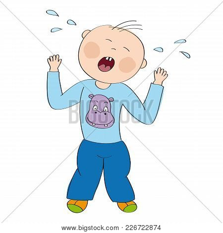 Little Baby Boy Toddler Angry And Crying, Having Temper Tantrum, Tears Splashing All Over - Original