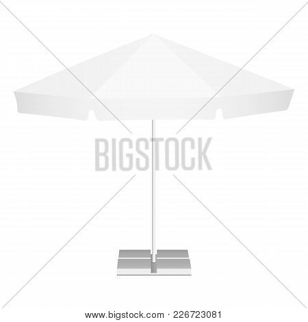 Promotional outdoor garden parasol with classic round canopy isolated on white background. Vector illustration