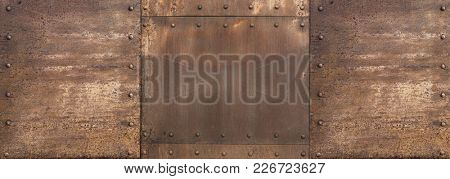 rusty metal steam punk wide background