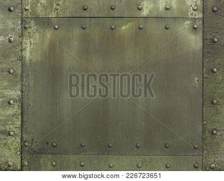 military khaki painted metal armor background