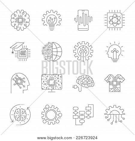 Modern Flat Editable Vector Line Icons Of Future Technology - Neural Network, Ai, Quantum Technologi