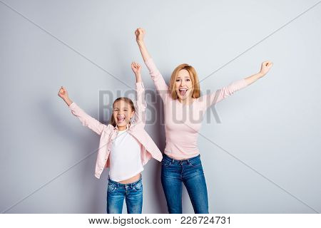 Yeah Hooray People Support Victory Triumph Pleasure Dream Dreamy Concept. Cheerful Astonished Amazed