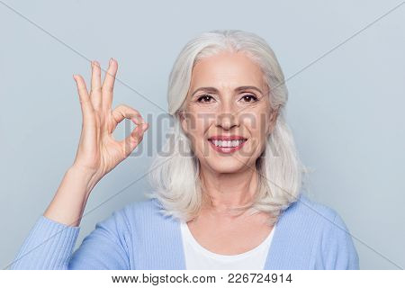 Close Up Portrait Of Happy Charming Cheerful Excited With Beaming Toothy Smile Mature Lady Grandmoth