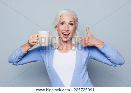 Portrait Of Crazy Coffee Lover. Joyful Happy Excited Grandmother Grandma Is Showing Thumb-up And Big