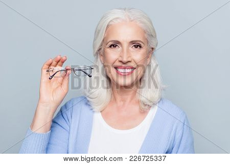 Old, Charming, Pretty Woman Showing Glasses For Sight, Senior, People Health Care, Standing Over Gre