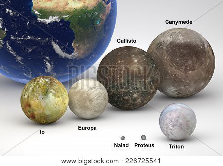 This Image Represents The Size Comparison Between Neptune And Jupiter Moons With Earth And In A Prec