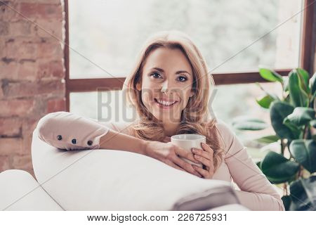 Close Up Portrait Of Smiling Happy Charming Beautiful Dreamy With Blonde Curly Hair Mature Woman, Sh