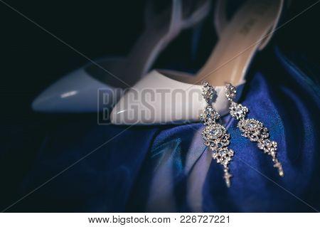 Elegant White Bride Shoes. Wedding Accessories. Preparations