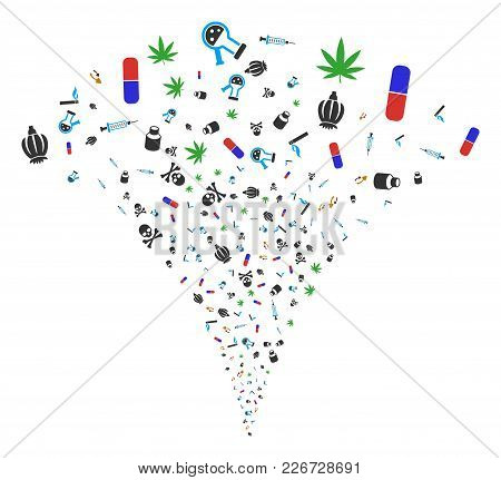 Narcotic Drugs Explosion Fountain. Vector Illustration Style Is Flat Iconic Symbols. Object Fountain