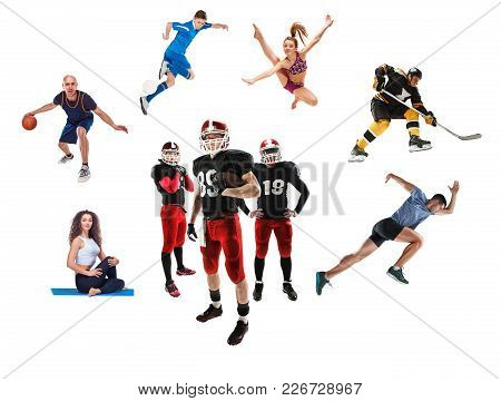 The Conceptual Multi Sports Collage With American Football, Hockey, Soccer, Jogging, Artistic Gymnas