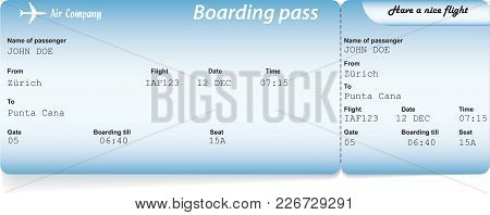 Blue Airline Boarding Pass Tickets For Traveling By Plane. Vector Illustration. Travel, Journey Or B
