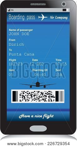 Mobile Phone Or Smartphone With Modern Electronic Boarding Pass Ticket For Travel By Plane. Vector I