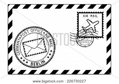 Envelope Black Icon With Postmarks. Berlin, Germany. Vector Illustration Isolated On White Backgroun
