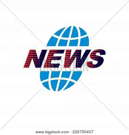 Journalism Theme Vector Emblem Created With Earth Planet Illustration And News Writing, News And Fac