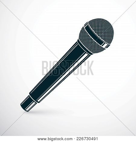 3d Microphone Vector Illustration Isolated On White. Social Media Communication Idea, Journalism Con