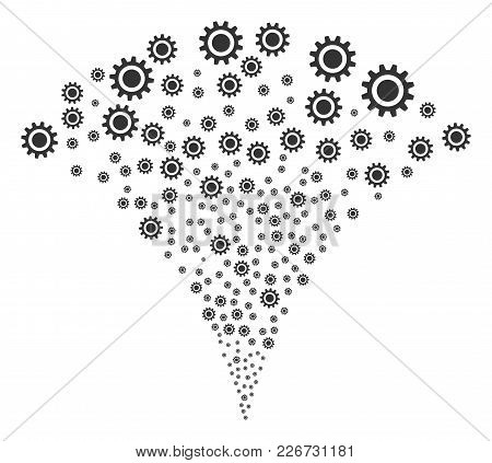 Cog Exploding Fountain. Vector Illustration Style Is Flat Iconic Symbols. Object Fountain Combined F