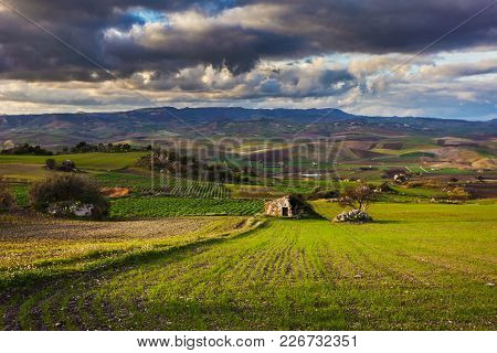 This Image Represent A Sicilian Landscape And Old Agriculture Country