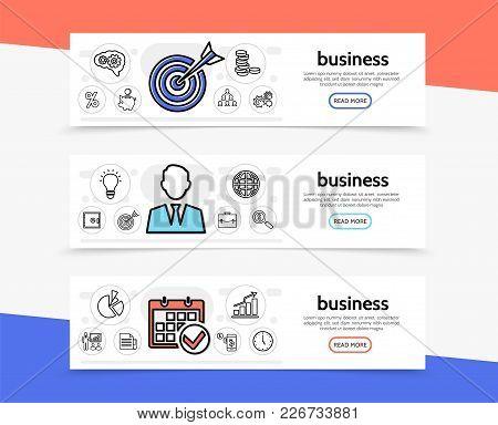 Business Elements Horizontal Banners With Target Businessman Calendar Coins Teamwork Bulb Safe Brief