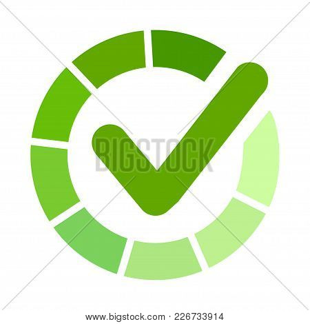 Green Approved Sticker. Check Mark, Tick Hook Signs In Circle. Button For Vote Yes