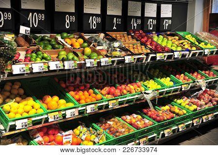 Split, Croatia - February 16: Fruits In The Shelfs Of Grocery Store, Split, Croatia On February 16,