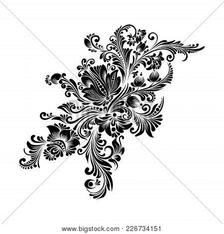 Vector Black And White Decorative Floral Ornament In Ukrainian Folk Style For Decoration And Design