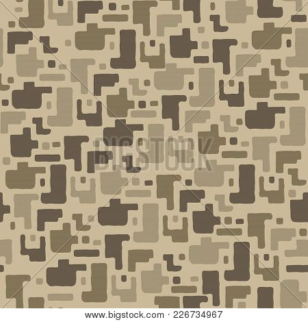 Camouflage Pattern Background, Seamless Vector Illustration. Classic Military Clothing Style. Maskin