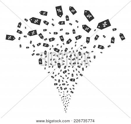 Discount Tag Exploding Fountain. Vector Illustration Style Is Flat Iconic Symbols. Object Fountain C