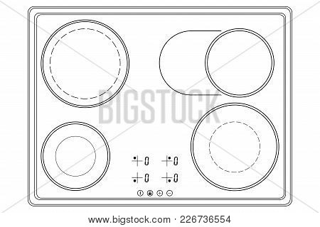 Oven Cooktop. Outline Drawing. Vector Illustration Isolated On White Background