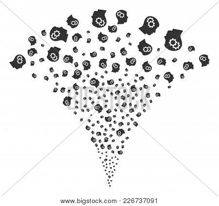 Intellect Gears Fireworks Fountain. Vector Illustration Style Is Flat Iconic Symbols. Object Fountai