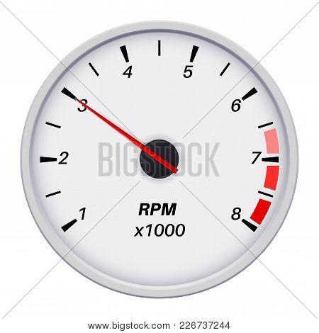 Tachometer. Car Dashboard White Gauge. Vector Illustration Isolated On White Background