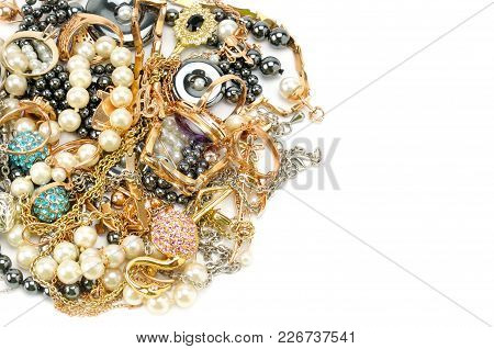 Gold Jewelry Isolated On White Background. Flat Lay, Top View. Free Space For Text.