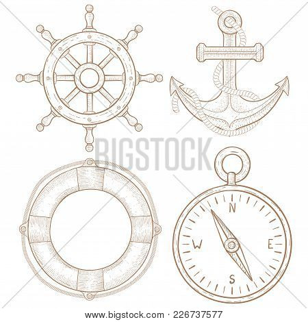 Nautical Symbols - Steering Wheel, Anchor, Lifebuoy, Compass. Hand Drawn Colored Sketch. Vector Illu