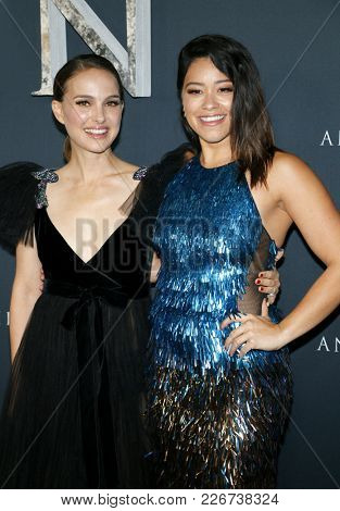 Natalie Portman and Gina Rodriguez at the Los Angeles premiere of 'Annihilation' held at the Regency Village Theater in Westwood, USA on February 13, 2018.