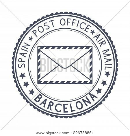 Black Stamp With Barcelona, Spain And Envelope Symbol. Vector Illustration Isolated On White Backgro