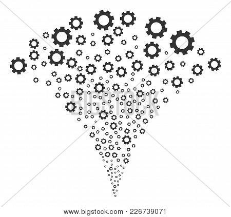Gear Fireworks Fountain. Vector Illustration Style Is Flat Iconic Symbols. Object Fountain Construct