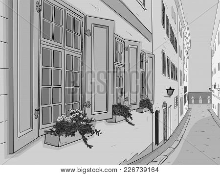 Beautiful Narrow City Street With Flowers Window Boxes. Hand Drawn Sketch. Grayscale Vector Illustra