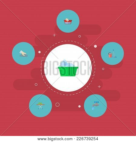 Set Of Cleaning Icons Flat Style Symbols With Washcloth, Tap Water, Ironing And Other Icons For Your
