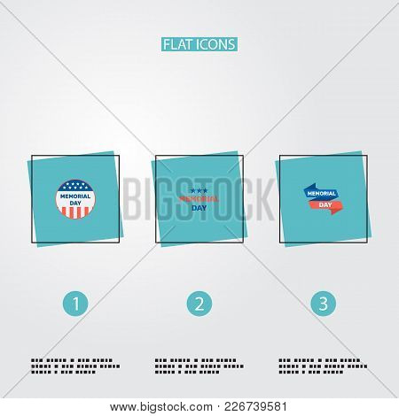 Set Of History Icons Flat Style Symbols With Memorial Day, Banner, History And Other Icons For Your