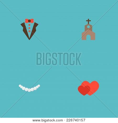 Set Of Wedding Icons Flat Style Symbols With Groom Suit, Church, Hearts And Other Icons For Your Web