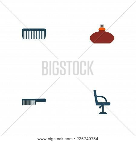 Set Of Hairdresser Icons Flat Style Symbols With Flacon, Comb, Barbershop Furniture And Other Icons