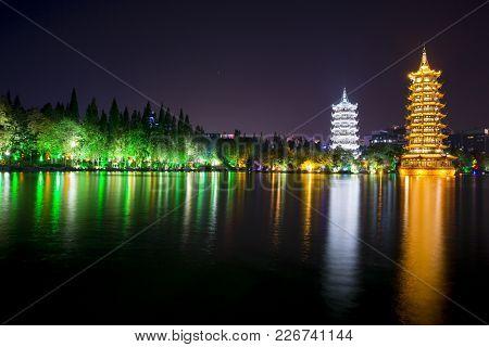Sun And Moon Pagoda At Guiling - China - Night View