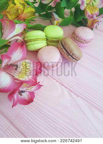 Macaron Pink Wooden Background, Flower, Alstroemeria  Nobody, Cocoa, Flavor, Breakfast, Mint
