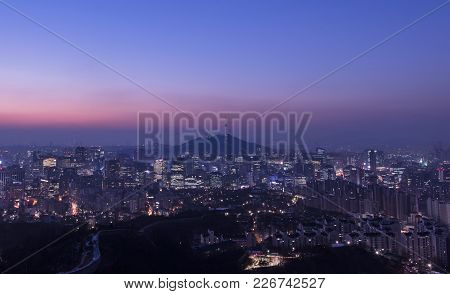 Sunrise At Seoul South Korea City Skyline With Seoul Tower.