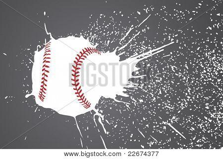 vector illustration (baseball ball with white splashes)